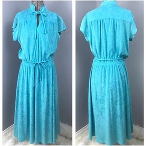 Vintage Blue Terry Cloth Dress or Coverup